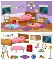 bakgrundsscen i sovrum med många möbler