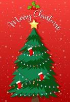 geschmückter Weihnachtsbaum mit frohen Weihnachtstext
