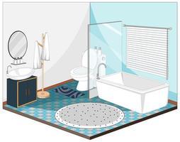 badrumsinredning med möbler i blått tema