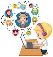 Seitenansicht eines Jungen, der Laptop verwendet, um Videokonferenz mit Lehrer und Freunden auf weißem Hintergrund zu kommunizieren vektor