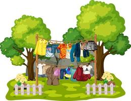 Kleidung hängt an Wäscheleinen im Freien Szene auf weißem Hintergrund