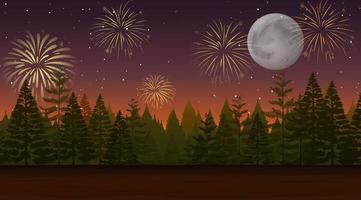 skog med firande fyrverkeri scen vektor