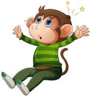 ein niedlicher Affe, der T-Shirt-Zeichentrickfigur auf weißem Hintergrund trägt