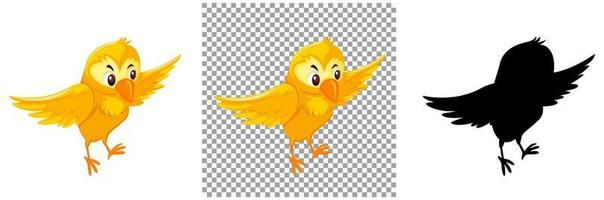 söt gul fågel seriefigur
