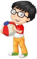 nördig pojke som bär glasögon som rymmer färgboll
