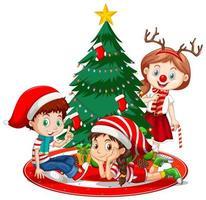 barn bär juldräkt seriefigur med julgran på vit bakgrund