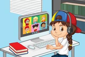 Ein Mädchen kommuniziert eine Videokonferenz mit Freunden zu Hause vektor