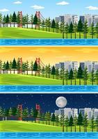 naturlandskapsscen vid olika tider på dagen vektor