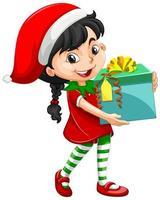 süßes Mädchen im Weihnachtskostüm, das Geschenkbox-Zeichentrickfigur hält