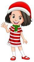 söt tjej som bär juldräkter seriefigur vektor