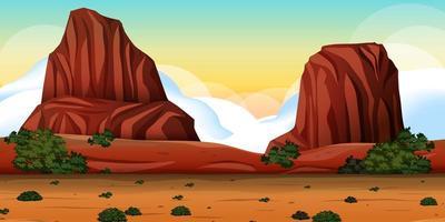 öken med bergberglandskap vid dagtidsscen vektor