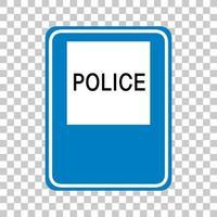 polisens vägskylt isolerad på transparent bakgrund