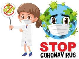 Stop-Coronavirus-Logo mit erdtragender Masken-Zeichentrickfigur und Arzt, der Stop-Coronavirus-Zeichen hält vektor
