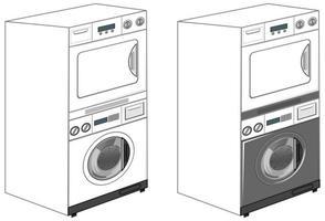 Waschmaschinen isoliert auf weißem Hintergrund vektor