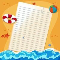leeres Papier Notizvorlage Sommerthema