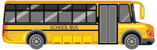 gul skolbuss på vit bakgrund