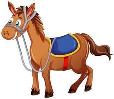 ein Pferd mit Sattelkarikatur auf weißem Hintergrund vektor