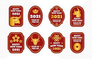 einfache chinesische Neujahr goldene Ochsenetikettensammlung vektor