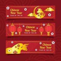 kinesiskt nyår av gyllene ox banner vektor