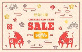 chinesisches Neujahrs-Marketing-Verkaufsförderungshintergrund vektor