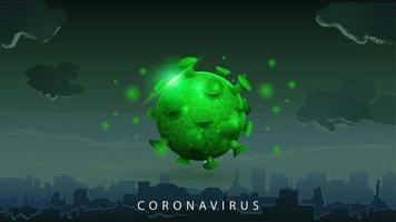 tecken på coronavirus covid-2019 på mörk bakgrund vektor