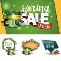 Sammlung von Frühlingsrabattbannern in verschiedenen Stilen vektor