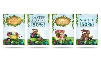 Sammlung von Ostern Rabatt Banner im Cartoon-Stil vektor
