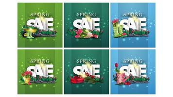uppsättning av våren fyrkantiga rabatt banners vektor