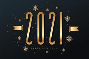 gott nytt år 2021 med snöflingor vektor