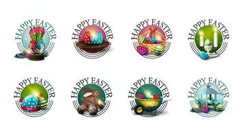 samling av runda färgglada påskhälsningssymboler vektor