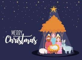 Frohe Weihnachten und Krippe Banner mit heiliger Familie