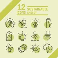 hållbar, förnybar och grön ekoenergisymbolsuppsättning vektor