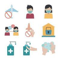 coronavirus pandemi förebyggande platt ikonuppsättning vektor