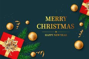 Weihnachtshintergrund mit glänzenden goldenen Schneeflocken vektor