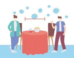 restaurang om koronavirusförebyggande med social distansering vektor