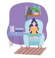 flicka mediterar, själv isolering aktivitet i karantän vektor