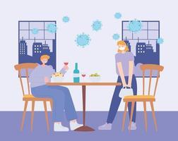 restaurang om koronavirusförebyggande med social distansering