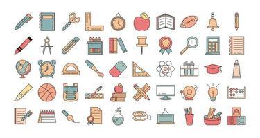 skola och utbildning Ikonuppsättning vektor