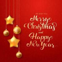 kalligraphische Frohe Weihnachten Schriftzug verziert