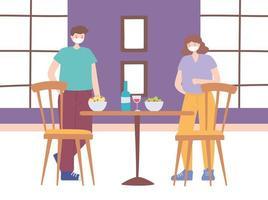 restaurang om förebyggande av koronavirus med social distanseringsmiddag vektor