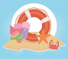 Spaß Sommerferien und Strandkomposition