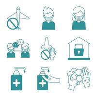 Coronavirus pandemisk förebyggande ikonuppsättning vektor