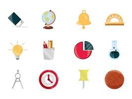 tillbaka till skolan och utbildning platt ikonuppsättning