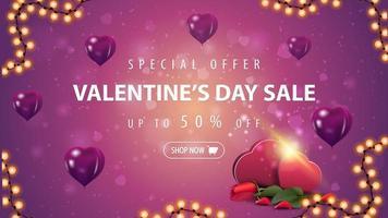 Valentinstag Sale, bis zu 50 Rabatt auf Banner vektor