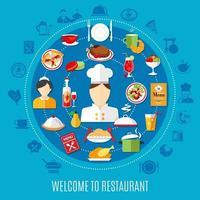 Zusammensetzung der Speisekarte des Restaurants vektor