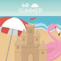 Hallo Sommerferien und Strandkomposition