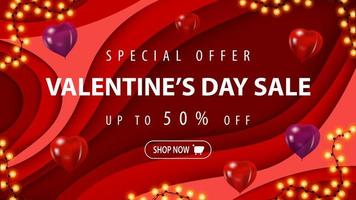 Alla hjärtans dag försäljning, upp till 50 rabatt banner vektor