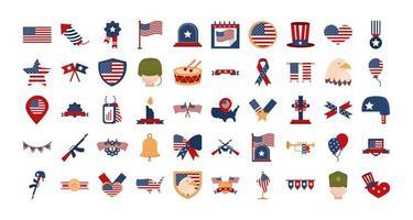 Gedenktag, American National Celebration Icon Set