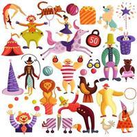 cirkus dekorativa ikonuppsättning vektor