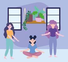 kvinnor som gör yoga i karantän vektor